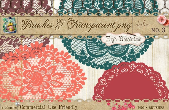 Doilies 3 Brushes and Digital Clipart PNG