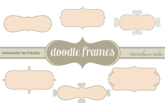 Journal Tags - Doodle Frames Clipart  - Set 11 with Brushes & Custom Shapes