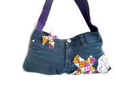 XO medium purse or tote upcycled from a jean skirt