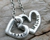 Hand Stamped Childs Name Silver Heart Necklace. Personalized Jewelry. Mother's Heart. Rustic, Organic .999 Silver Metal Clay PMC
