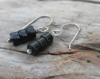 Modern Black Earrings.  Sterling Silver and Black Riverstone Earrings.  Winter Black Earrings.  Winter Jewelry.