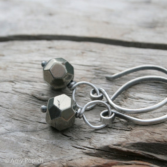 Faceted Pyrite Drops, Gemstone Earrings.  Fools Gold.  Hand Forged Round Hoop Sterling Silver Ear Wires.  Summer Jewelry Earrings.
