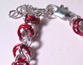 Loose Silver Plate and Red Orbital Weave Chain Mail Bracelet