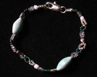 Green and Silver Ceramic and Seed Bead Bracelet free shipping