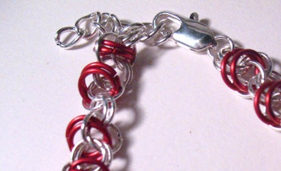 Loose Silver Plate and Red Orbital Weave Chain Mail Bracelet free shipping