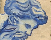 God of the Past- blue and white oil painting on plywood