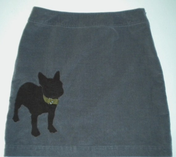 Gray Corduroy Skirt with French Bulldog Applique- Size 12