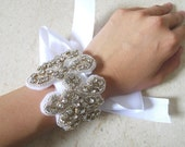 Rhinestone Crystal Bracelet WIth White Satin Ribbon -- Bella
