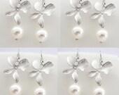 10% OFF 7 Pairs Bridesmaids Pearl Earrings - Silver Orchid Swarovski Pearl - Rose Peach Light Grey Cream White Black Pearls