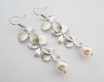 Triple Orchid Earrings - Matt Silver Flower Bridesmaids Earrings White Or Cream Swarovski Pearls Sterling Silver Earhooks