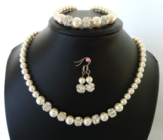 Bridal Pearl Jewelry Set - Bridesmaids Necklace, Bracelet, Earrings - Swarovski Pearls - Rhinestone Beads - Florence