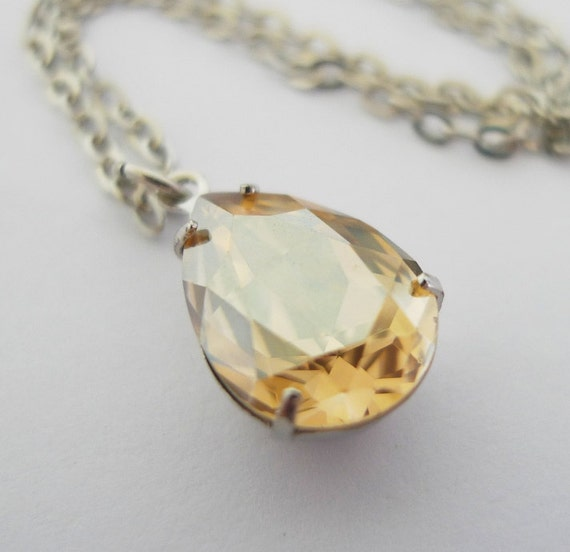 Golden Shadow Necklace - Gold Swarovski Crystal Teardrop Pendant - Vintage Inspired Estate Style - Liz Pear