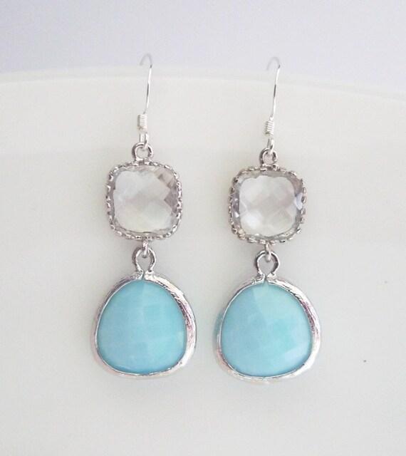 Blue Bridesmaids Earrings -  Sky Blue Earrings - Powder Blue Bridal Earrings - Czech Glass - Sterling Silver Earhooks