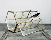 VINTAGE ///// Larger Glass Brass Shadow Box