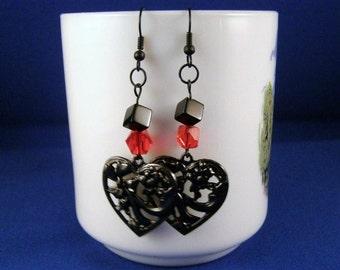 Gunmetal Heart Earrings