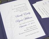 Purple Wedding Invitation Classic Lily of the Valley Elegant Black Invitation Traditional Floral