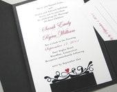 Custom Pocketfold Wedding Invitation Traditional Black White Damask Elegant Classic Red Heart