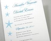 Custom Beach Wedding Invitation Blue Dancing Starfish Traditional Teal Blue Ocean Classic Invite