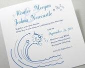 Beach Wedding Invitation Blue Waves Custom Pocketfold Ribbon Wrap Surf Ocean Seaside Wedding