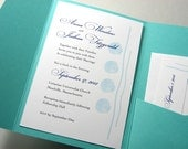 Beach Wedding Pocketfold Invitation Traditional Blue Sea Shells Elegant Seaside Waves Custom Invitation