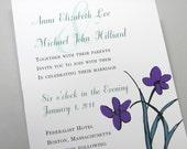 Custom Wedding Invitation Bold Purple Green Flowers Modern