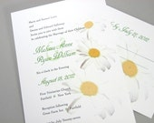 Wedding Invitation Daisies Yellow White Flowers Custom Traditional Classic Green Accent Charming