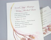 Custom Wedding Invitation Dusty Rose Vintage Pressed Flowers Traditional Classic Romantic Soft Pink