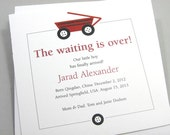 Custom Baby Announcement Red Wagon Adoption Gay Adoption