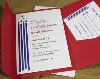 Quirky Modern Wedding Invitation Custom Pocketfold Purple Red Geometric Abstract Casual
