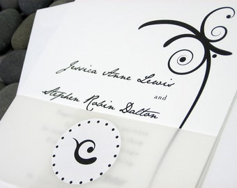 Elegant Wedding Invitation Black and White Bold Flourish Custom Invite Vellum Belly Band