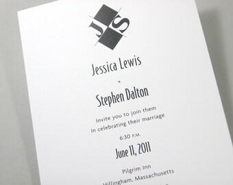 Black and White Wedding Invitation Bold Modern Monogram Vellum Belly Band