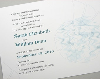 Beach Wedding Invitation Bold Teal Blue Nautilus Shell Modern Seaside Spiral Ocean Custom  Invite