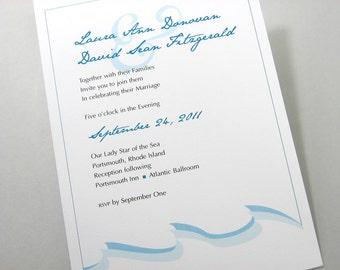 Blue Beach Wedding Invitation Custom Traditional Blue Green Wave Trio Modern Vellum Wrap Monogram SealSeaside Ocean
