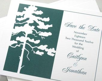 Custom Save the Date Card Elegant Pine Tree Traditional Wedding Deep Green Classic Script Fall Winter Season Wedding