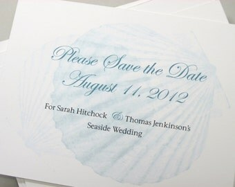 Save the Date Cards Beach Wedding Traditional Sea Shell Custom Save Date Classic Ocean Blue