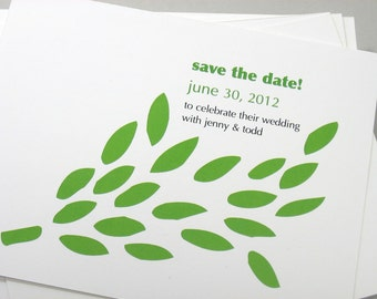 Custom Save the Date Cards Bright Spring Green Leaves Modern Leaf Spray Spring Summer Wedding