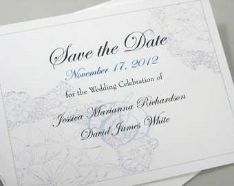 Elegant Save the Date Cards Custom Traditional Vintage Lace Blue Delicate Classic Script Silver Gray
