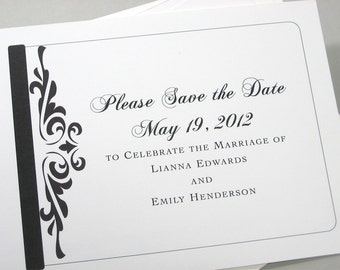 Save the Date Cards Traditional Black White Damask Scroll Classic Wedding Script Formal Font