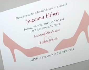 Custom Bridal Shower Invitation High-heel Shoes Pink Pumps Elegant Bridesmaid Shoes