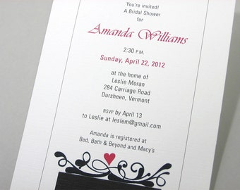 Wedding Shower Invitation Red Heart Black White Scroll Classic Bridal Shower Traditional Damask