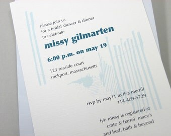 Custom Beach Bridal Shower Invitation Casual Blue Beach Walk Dune Fence Oceanside Wedding Tide