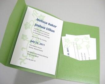 Quirky Wedding Invitation Spring Green Ivy Vine Pocketfold Invite