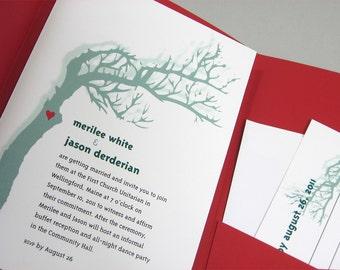 Custom Wedding Invitation Pocketfold  Red Heart Love Green Tree
