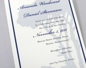 Wedding Invitation Blue Tree Silhouette  Navy Custom Traditional Forest Classic Woodland Satin Ribbon Wrap