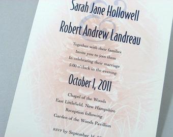 Fall Wedding Invitation Pinecone Navy Ribbon Wrap