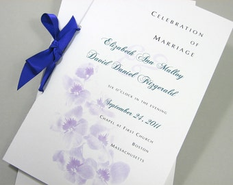 Wedding Program Booklet in Floral Spring Summer Ceremony Lavender Orchids Purple Ribbon