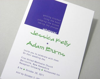 Modern Wedding Invitation Bold Purple Green Bright Casual Custom Square Geometric Contemporary Elopement Quirky