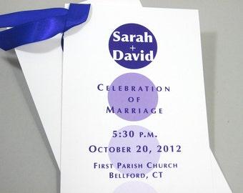 Casual Wedding Program One Page Bold Purple Circles Ribbon Bright Contemporary Ceremony Program