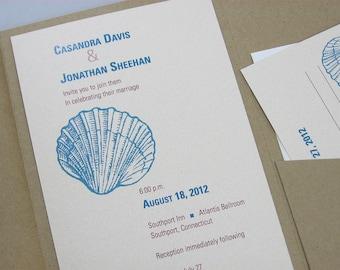 Beach Wedding Invitation Blue Sea Shell Recycled Pocketfold Modern Oceanside Teal Blue Green Kraft Pocketfold