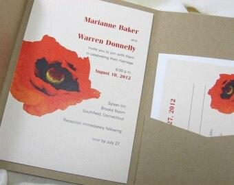 Custom Pocketfold Wedding Invitation Modern Bold Red Poppy Recycled Stock Rustic Fall Wedding